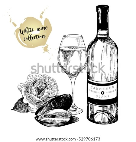 Vector Set Of White Wine In Engraved Vintage Style Bottle Mussel Rose