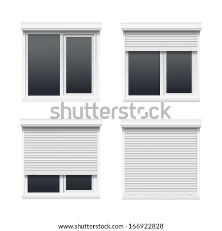 Vector Set of Windows with Rolling Shutters - stock vector