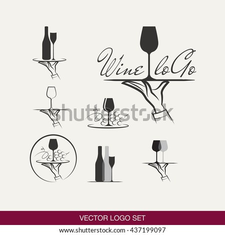 Vector set of wine logoes