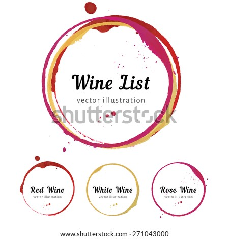 Vector set of Wine stain circles, splashes and spot isolated on white background for wine card, list, menu. Watercolor hand drawing glass marks. - stock vector