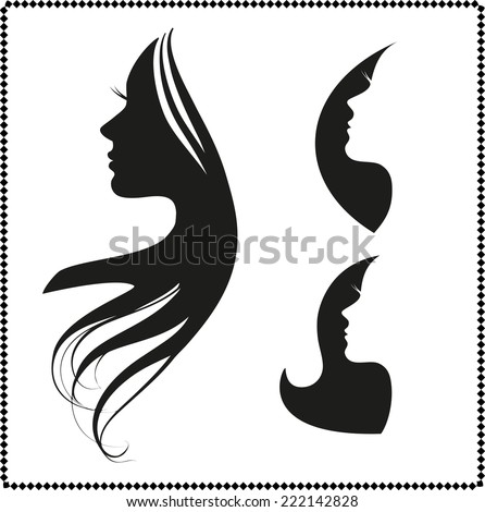 vector set of woman silhouette with hair styling - stock vector