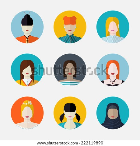 Vector set  of women avatars  in flat style different nationalities