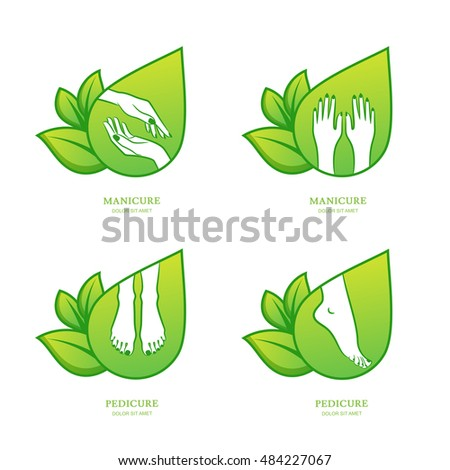 Vector set of womens manicure and pedicure logo, emblem, label design template. Female hands with green leaves. Concept for beauty salon, manicure and pedicure cosmetics, organic body care and spa.