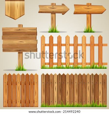 Vector set of wood elements for design - stock vector