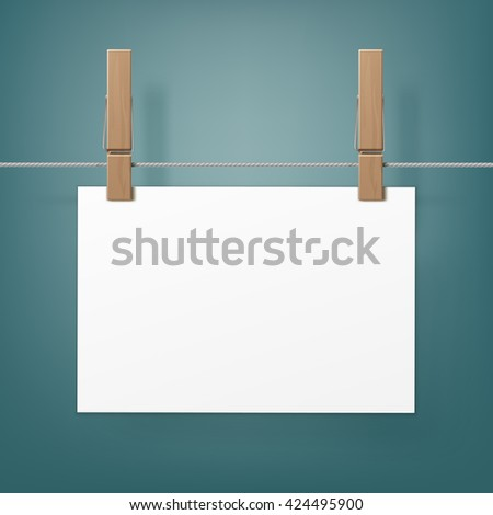Vector Set of Wooden Clothespins Pegs whith hanged paper sheet on Rope  Close up Isolated on Background