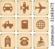 Vector set of wooden Icons - stock vector