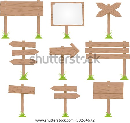 Vector Set Of Wooden Signs - stock vector