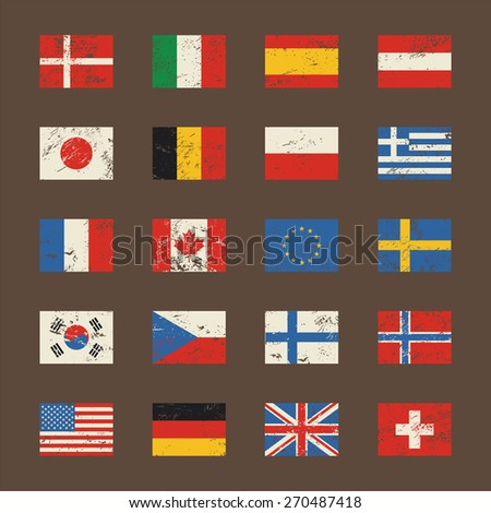 Vector set of world flags in grunge style.