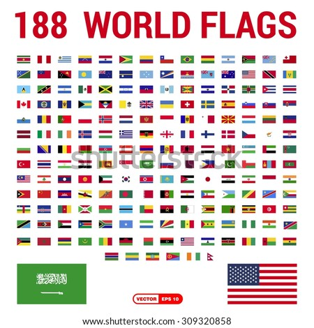 Vector set of 188 world Flags of sovereign states - stock vector