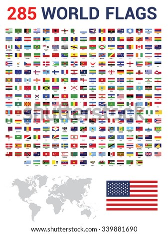 Vector set of 285 world Flags of sovereign states with names. Gray color World Map vector illustration - stock vector