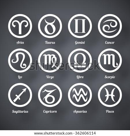 Vector set of zodiac signs - stock vector