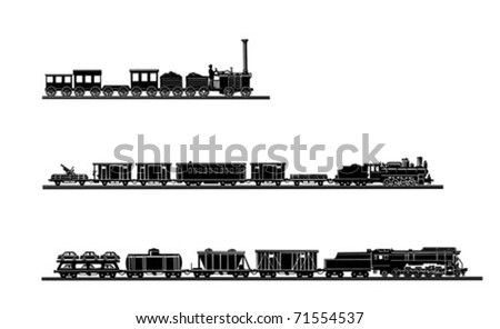 vector set old train on white background - stock vector