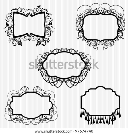 Chandelier silhouettes vectores en stock 73431355 shutterstock vector set or ornate chandelier frames aloadofball Image collections