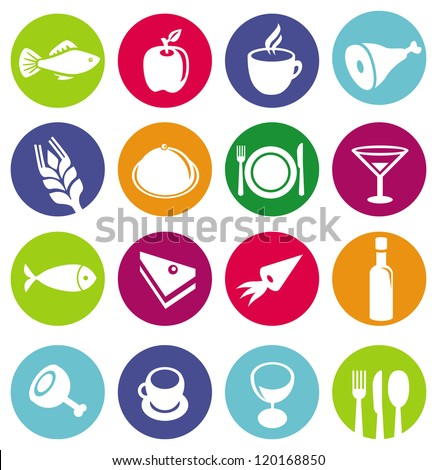 Vector set or restaurant icons and food - signs on circles - stock vector