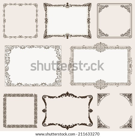 Vector set. Ornate frames and vintage scroll elements for design - stock vector