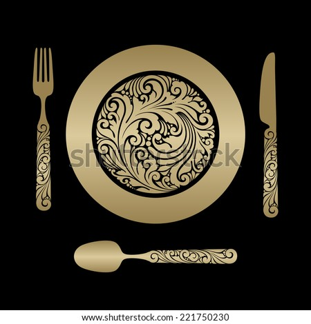 Vector set ornate objects - cutlery: fork, plate, knife, spoon  - stock vector