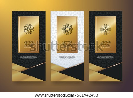 Vector set packaging templates black golden labels and frames for luxury products in trendy linear style,banner,tag,identity, branding,vector illustration