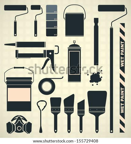 Vector Set: Painting Supplies Icons and Silhouettes - stock vector