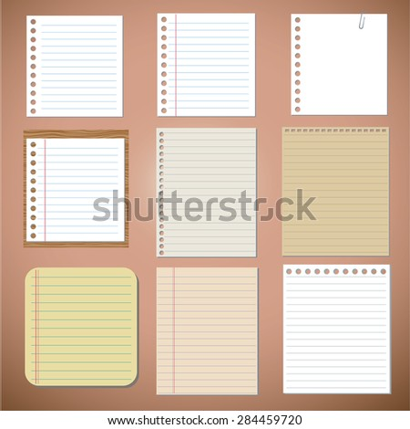 Vector set: paper designs and notes  - stock vector
