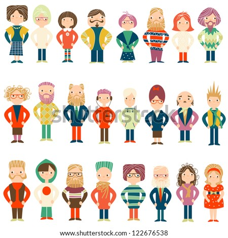 Vector set people of different age - stock vector