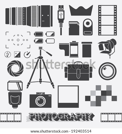 Vector Set: Photography and Camera Objects - stock vector