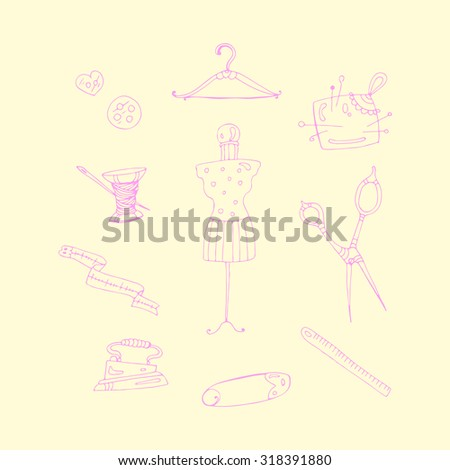 Vector set pink accessories for sewing . Various objects: buttons, thread, needle, measuring tape, hanger, mannequin, pin, pin cushion, scissors, ruler. On a pastel yellow background - stock vector