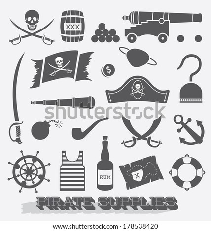 Vector Set: Pirate Supplies Icons and Symbols - stock vector