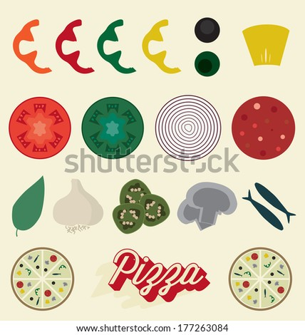 Vector Set: Pizza Toppings Collection - stock vector