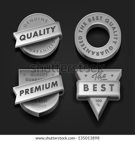 Vector set premium quality and guarantee labels three-dimensional design - stock vector