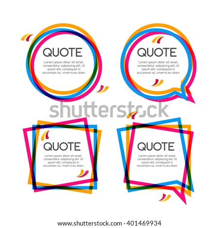 Vector set quote frame, colorful quote frames for modern design. - stock vector