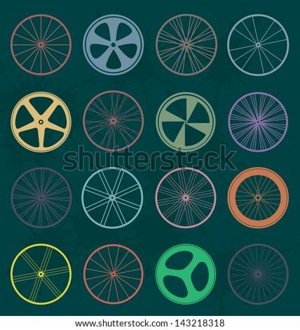 Vector Set: Retro Bike Wheel Silhouettes - stock vector