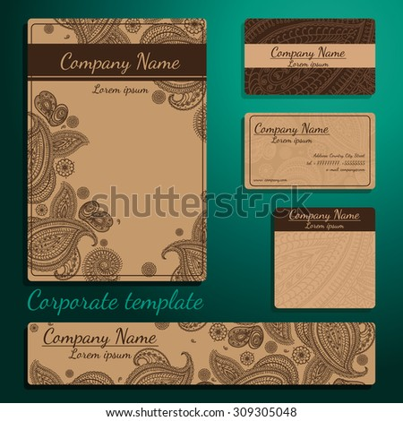 Vector set retro corporate template . Card or invitation. Decorative elements - paisley. Hand drawn background. - stock vector