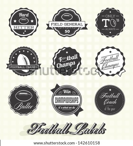 Vector Set: Retro Football Champion Labels - stock vector