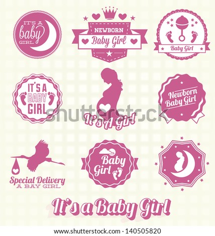 Vector Set: Retro It's A Baby Girl Labels and Icons - stock vector