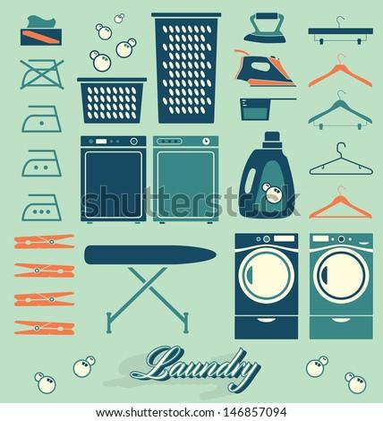 Vector Set: Retro Laundry Room Symbols and Icons - stock vector