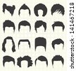 Vector Set: Retro Men's Hair Styles - stock vector