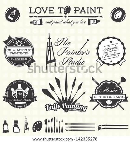 Vector Set: Retro Painter Labels - stock vector