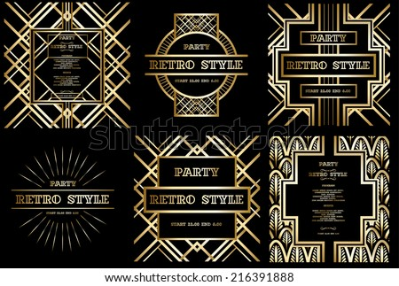 vector set retro pattern for vintage party Gatsby style  - stock vector