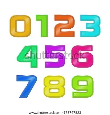 Vector set retro style color geometric numbers