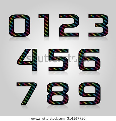 Vector set retro style color numbers with lines