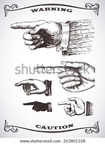Vector set retro Vintage pointing hand drawing  - stock vector