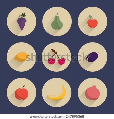 Vector set round icons with fruit - stock vector