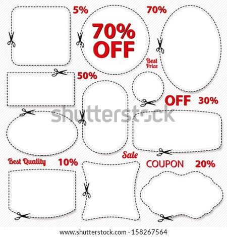 Vector set: Sale Coupon, labels (banner, tag) white template (vector design, layout) with blank frame, dotted line (dash line), red percent, scissors (cut off, cutting). Save money, get discount - stock vector