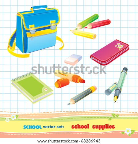Vector set: school objects - stock vector