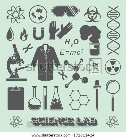 Vector Set: Scientist Lab Icon and Symbols - stock vector
