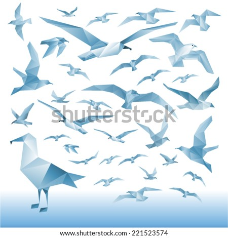 Vector set - seagulls silhouettes (flying birds) Illustration of a many triangles. - stock vector