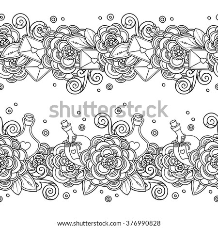 zentangle coloring book page vector set seamless pattern love magic fairy borders in doodle style hearts flowers - Zentangle Coloring Book