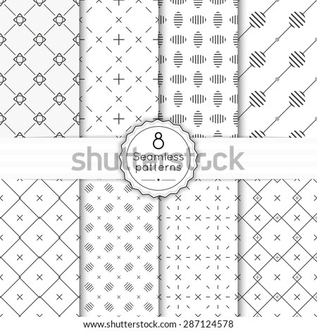 Vector set seamless pattern with vintage old banner and ribbon. Repeating geometric shapes, diamond, cross, rhombus, diagonal dotted line, polka dot. minimalist, minimal, monochrome - stock vector