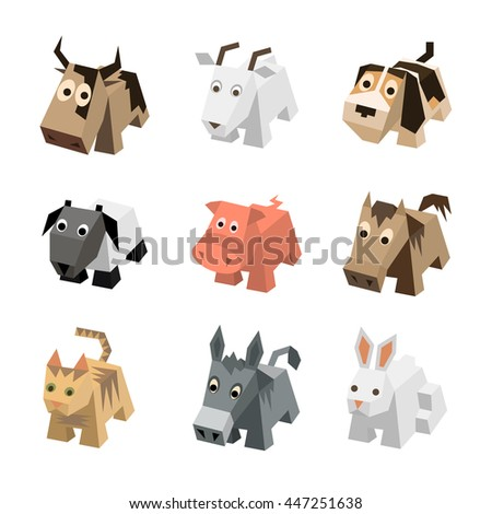 Vector set sf different cartoon isometric 3d animals isolated: cow, goat, dog, ram, sheep, pig, horse, cat, kitten, donkey, rabbit, hare. Elements for 3d game. Icon collection of farm animals. - stock vector