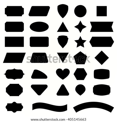 Vector Set Shapes And Black Label For Message Collection Emblems Vintage Rectangle Geometry